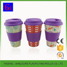 Wonderful Bamboo Fiber Coffee Cup With Lid And Silicone Sleeve