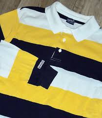 vtg gant rugger striped polo rugby shirt casual l s yellow navy white sz