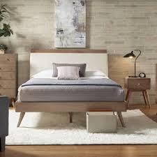 Natural Wood Bedroom Furniture 3pc Modern Queen Bedroom Sets Platform Bed Design Simple Panel