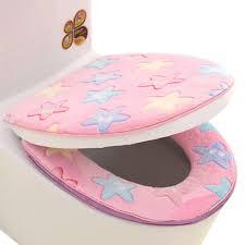 2 pcs stylish toilet lid toilet seat cover winter warmer soft cushion star