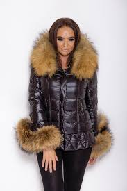 black rac down coat natural fur