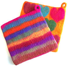 Felted Wool Designs Colorful Felted Wool Potholders Different Designs