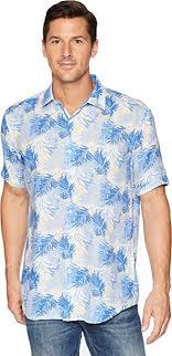 Bugatchi Mens Shaped Fit Palm Leaf Linen Shirt At Amazon
