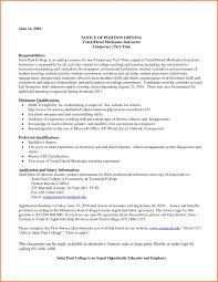 Resume Diesel Mechanic Cover Note Format Objective Statement