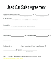 Personal Car Sale Agreement Vehicle Sale Contract Template Used Car Contract Template