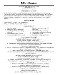 Medical Resume Templates Stunning Examples Of A Medical Assistant Resume Examples Of Medical Resumes