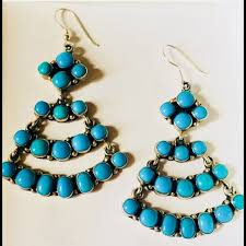 navajo emma lincoln turquoise sterling earrings