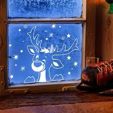 Fensterbild Elch Hirsch Im Schnee Schneeflocken Sterne