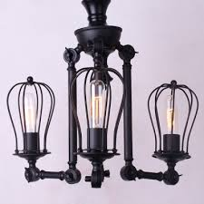 wrought iron 3 light foyer lighting black extendable arm chandelier with cage shade