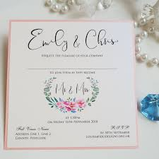 Weding Card Designs Floral Wreath Themed Wedding Invitation Featuring A Pretty Pink Peony Design