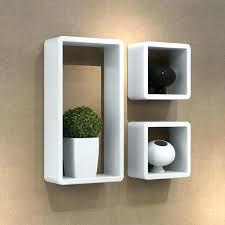 wall mounted display shelves floating box shelf new mount cube storage set of 3 sky white