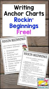 images about writing student th grade enjoy a sample of a collection of writing anchor charts this one is on rockin beginnings you will an anchor chart 10 ideas to make the