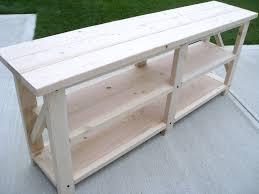 make a rustic sofa table