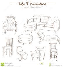 Furniture Sketches Furniture Collection Sketch Drawing Vector Stock Vector Image