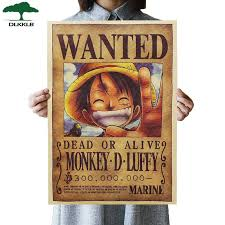 DLKKLB Home Decor Wall Stickers <b>One Piece</b> Posters <b>Luffy Wanted</b> ...