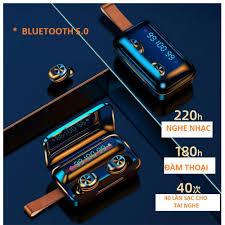 Tai Nghe Bluetooth True Wireless VINETTEAM F9 PRO 5.0 Nâng Cấp Dock Sạc có  Led Báo Pin Kép -Chống Nước - Chống ồn - Tích Hợp Micro - Tự Động Kết Nối -