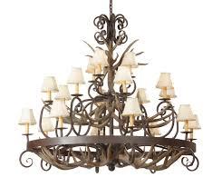 mule deer antler wrought iron chandelier 20 light