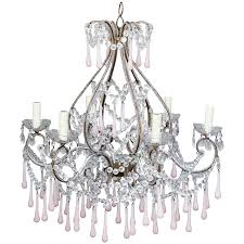 pink opaline crystal beaded chandelier for
