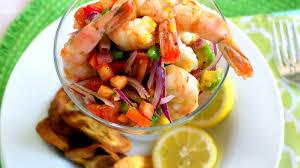 shrimp ceviche with mango and avocado