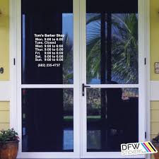 exterior door stickers. business hours door exterior stickers