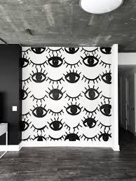 Black And White Mural Design Black White Eye And Eyelash Mural Meg Biram