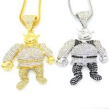 2 colors bling bling iced out large size cartoon pendant hip hop necklace jewelry 36inch franco chain n638 hip hop jewelry pendant necklace