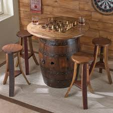 livingroom whiskey barrel game table with stools wine enthusiast rocking chairs made from barrels out