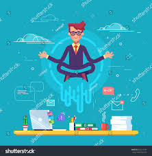 meditation businessman office. businessman doing yoga to calm down the stressful emotion from hard work in office over desk meditation