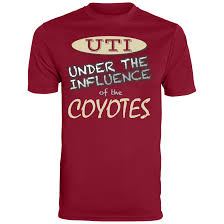 uti shipping the mens uti red wicking coyotes t shirt is 100 polyester wicking