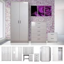 White High Gloss Bedroom Furniture Set Wardrobe, Chest, Bedside ...