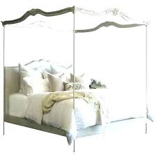 Full Size White Wood Canopy Bed Frame Curtains Bailey Charcoal ...