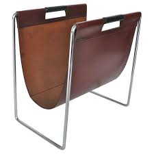 French Leather and Chrome Magazine Rack For Sale