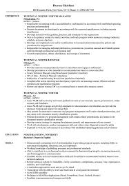 Writers Resume Template Tec Amazing Technical Writing Resume