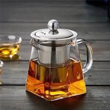 350-<b>750ml Heat</b> Resistant Clear Glass <b>Teapot</b> With Infuser Flower ...