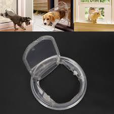 4 way round small dog door clear locking flap cat pet door fit glass window