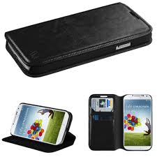 samsung galaxy s4 phone black. leather folding wallet case and stand, black samsung galaxy s4 phone