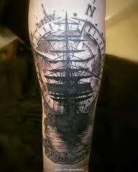 художественная татуировка корабль один долгий сеанс макет эскиз