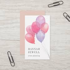 Watercolor Balloons Event Planner Business Card Zazzle Com