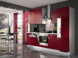 Retro Range Hood Modern Open Kitchen On Tile Flooring With Red Retro Cabinets And