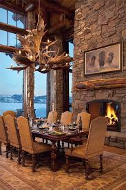 rustic interior design of wyoming lodge from antler chandelier to stone fireplace to upscale casual dining amid awesome views this is gorgeous with a