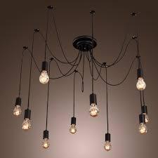 iegeek fuloon 10 lights vintage edison lamp shade multiple adjule diy ceiling spider lamp pendent