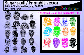 I make a small commission on any. Sugar Skull Silhouette Graphic By Arcs Multidesigns Creative Fabrica
