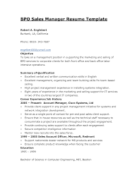 Sample Bpo Resume sample resume format for bpo jobs Enderrealtyparkco 1