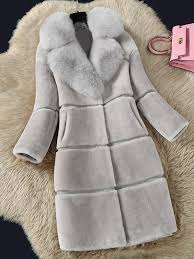 warm winter solid color long sleeve faux fur coat