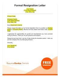 Good Resignation Letter Samples A Sample Formal Two Weeks Notice