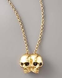 lyst alexander mcqueen conjoined skull pendant necklace in metallic image 0 14k gold