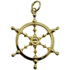 handsome 14k yellow gold ship s wheel pendant vintage fine to expand