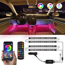Amazon Car Lights Tatufy Car Led Strip Lights 4pcs 48 Led Dc 12v Interior Car Lights Bluetooth App Control Lighting Kits Multi Color Music Car Strip Lights With Sound