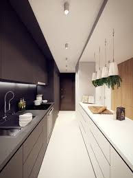 Apartment Galley Kitchen Long Black And White Galley Kitchen Set With Modern Appliances