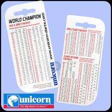 2 Dart Out Chart Unicorn Checkout Chart Pocket Size Checkouts Table With 2 And 3 Dart Finishes 2 Sided